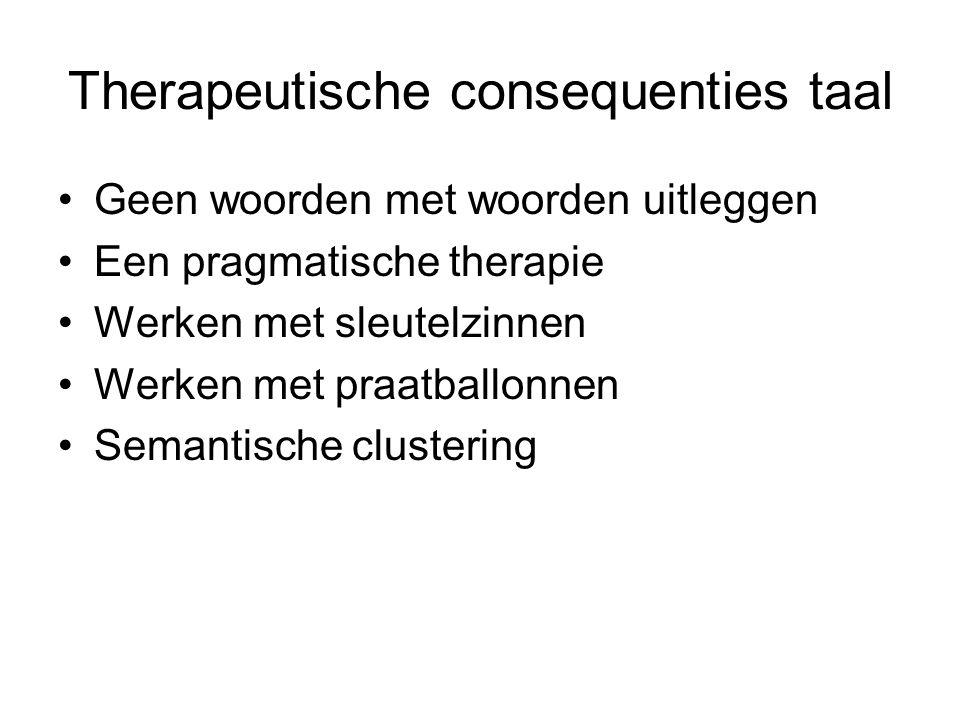 Therapeutische consequenties taal Geen woorden met woorden uitleggen Een pragmatische therapie Werken met sleutelzinnen Werken met praatballonnen Sema