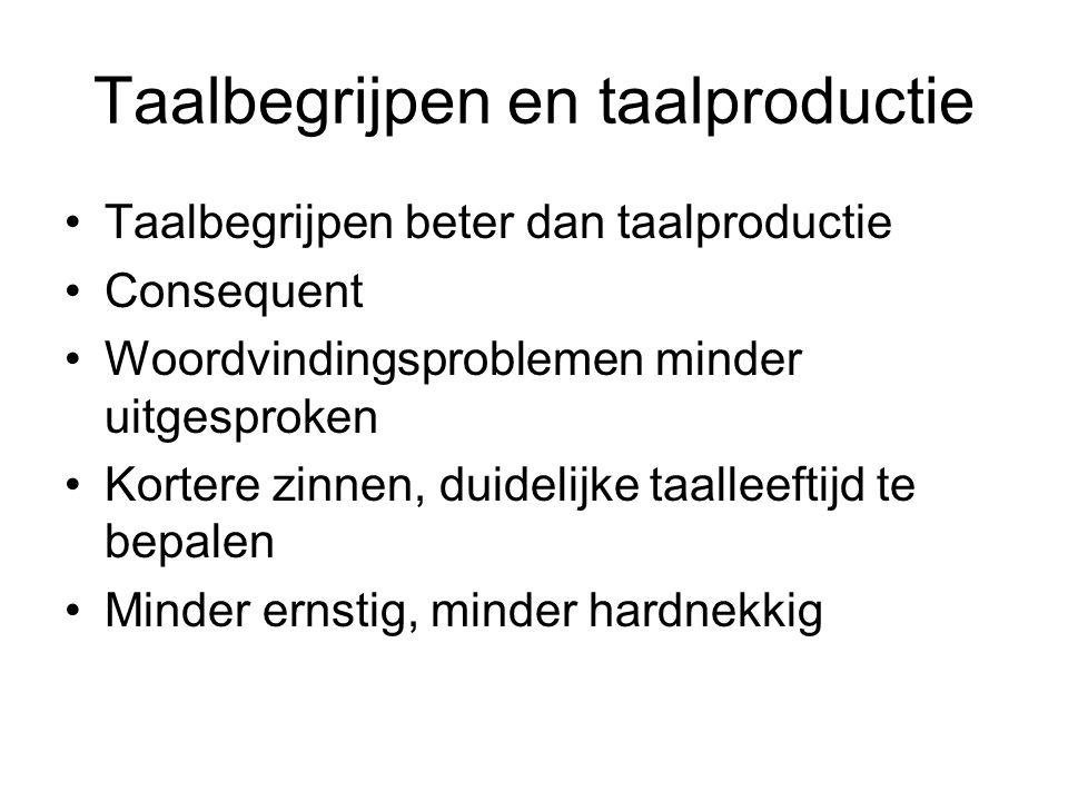 Taalbegrijpen en taalproductie Taalbegrijpen beter dan taalproductie Consequent Woordvindingsproblemen minder uitgesproken Kortere zinnen, duidelijke