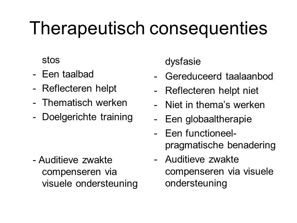 Therapeutisch consequenties stos -Een taalbad -Reflecteren helpt -Thematisch werken -Doelgerichte training - Auditieve zwakte compenseren via visuele