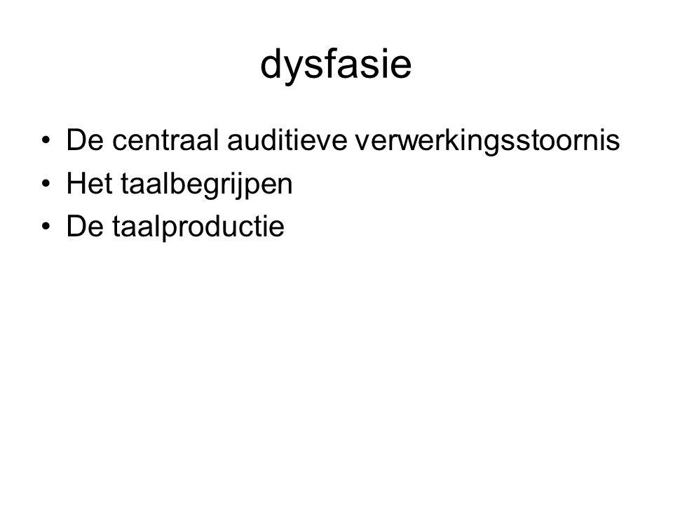 dysfasie De centraal auditieve verwerkingsstoornis Het taalbegrijpen De taalproductie
