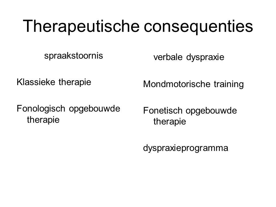 Therapeutische consequenties spraakstoornis Klassieke therapie Fonologisch opgebouwde therapie verbale dyspraxie Mondmotorische training Fonetisch opg