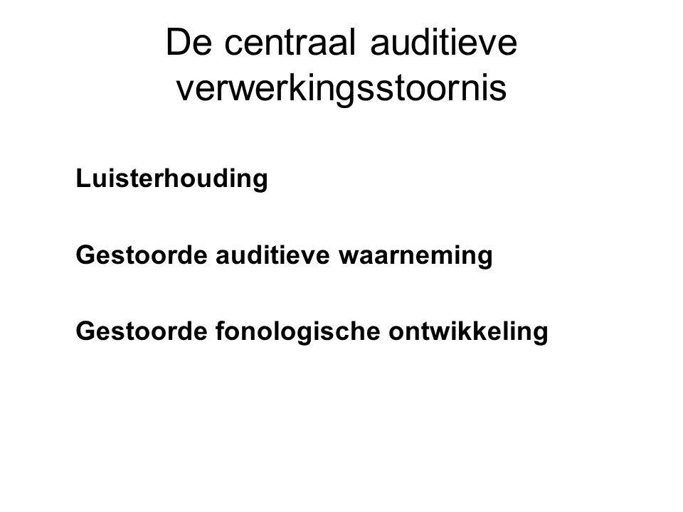 De centraal auditieve verwerkingsstoornis Luisterhouding Gestoorde auditieve waarneming Gestoorde fonologische ontwikkeling