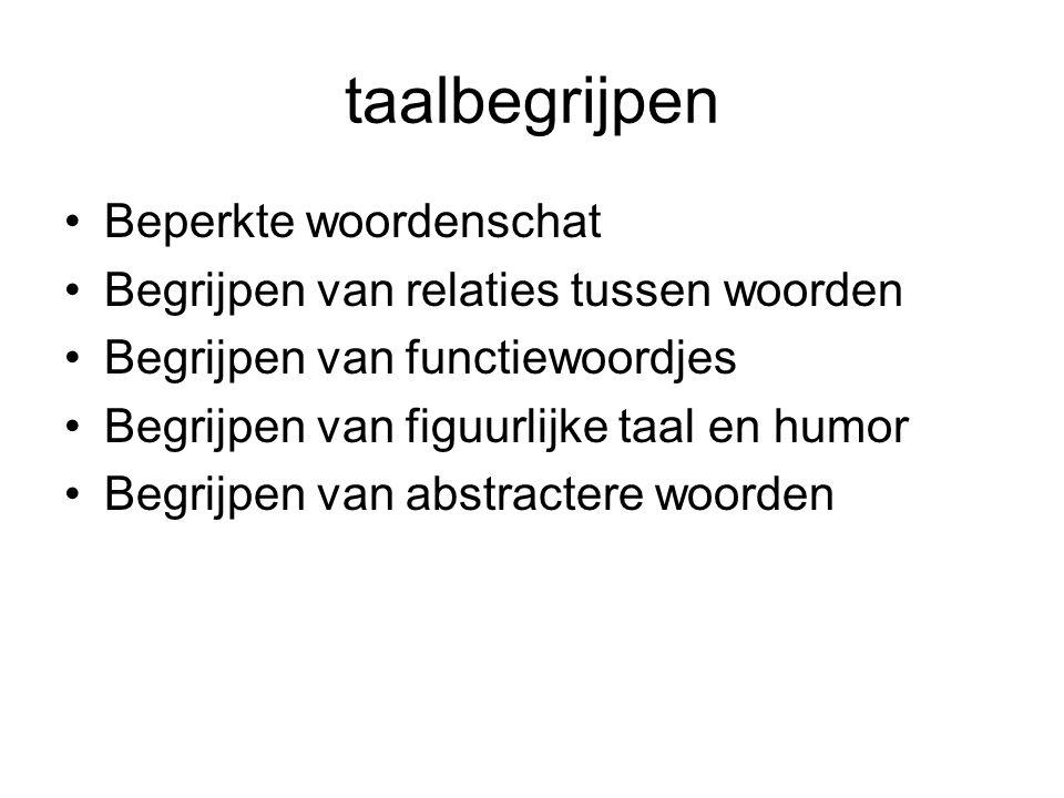 taalbegrijpen Beperkte woordenschat Begrijpen van relaties tussen woorden Begrijpen van functiewoordjes Begrijpen van figuurlijke taal en humor Begrij