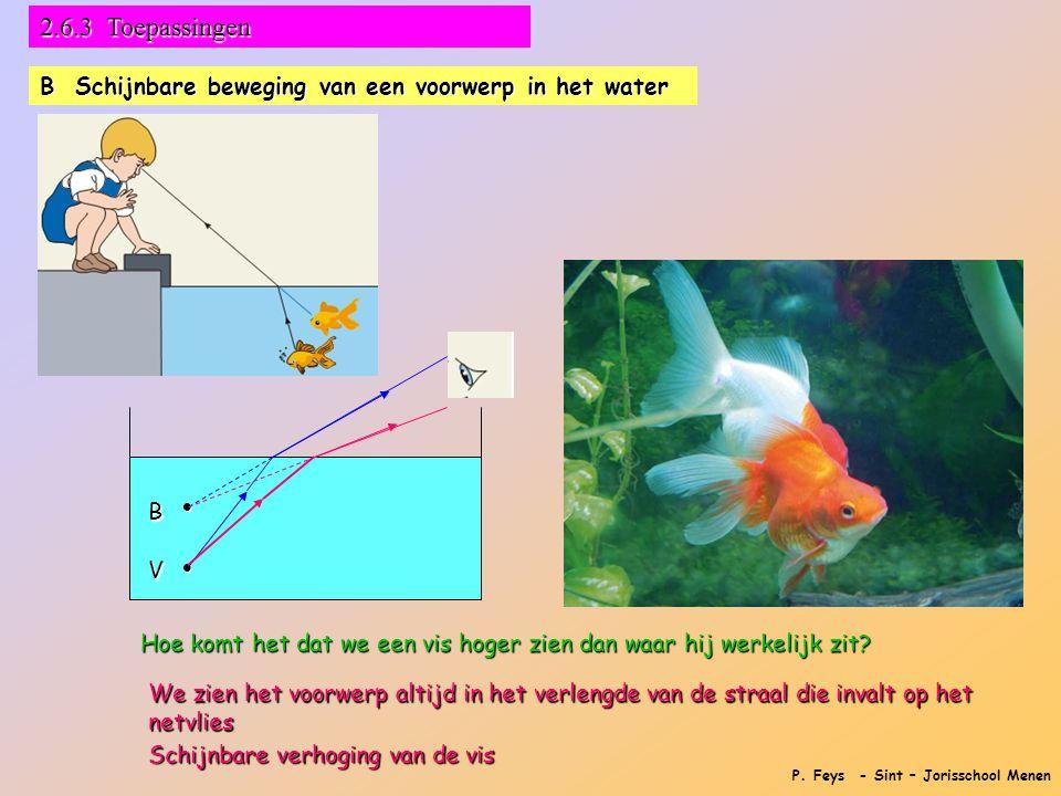 P. Feys - Sint – Jorisschool Menen 2.6.3 Toepassingen B Schijnbare beweging van een voorwerp in het water   V B Schijnbare verhoging van de vis Hoe