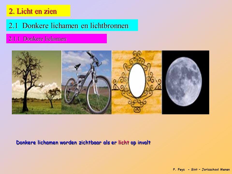 P. Feys - Sint – Jorisschool Menen 2. Licht en zien 2.1 Donkere lichamen en lichtbronnen 2.1.1 Donkere lichamen Donkere lichamen worden zichtbaar als