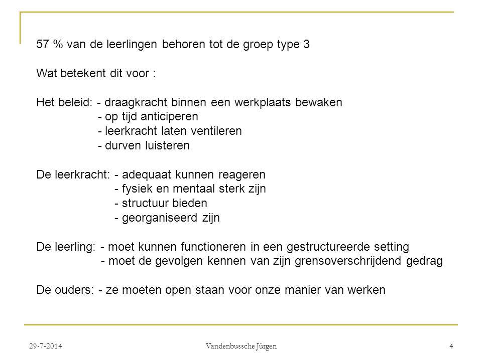 29-7-2014 Vandenbussche Jürgen 4 57 % van de leerlingen behoren tot de groep type 3 Wat betekent dit voor : Het beleid: - draagkracht binnen een werkplaats bewaken - op tijd anticiperen - leerkracht laten ventileren - durven luisteren De leerkracht: - adequaat kunnen reageren - fysiek en mentaal sterk zijn - structuur bieden - georganiseerd zijn De leerling: - moet kunnen functioneren in een gestructureerde setting - moet de gevolgen kennen van zijn grensoverschrijdend gedrag De ouders: - ze moeten open staan voor onze manier van werken