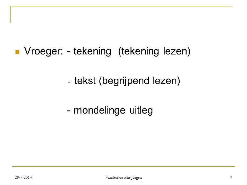Vroeger: - tekening (tekening lezen) - tekst (begrijpend lezen) - mondelinge uitleg 29-7-2014 Vandenbussche Jürgen 9