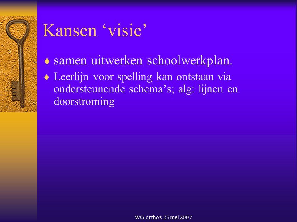 WG ortho's 23 mei 2007 Kansen 'visie'  samen uitwerken schoolwerkplan.  Leerlijn voor spelling kan ontstaan via ondersteunende schema's; alg: lijnen