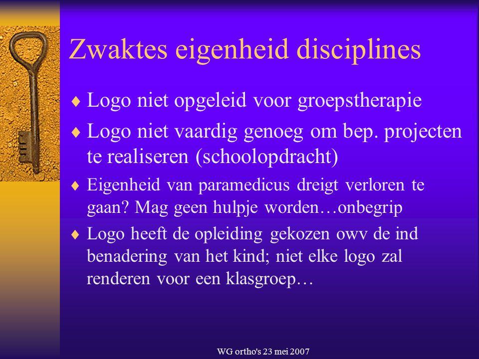 WG ortho's 23 mei 2007 Zwaktes eigenheid disciplines  Logo niet opgeleid voor groepstherapie  Logo niet vaardig genoeg om bep. projecten te realiser