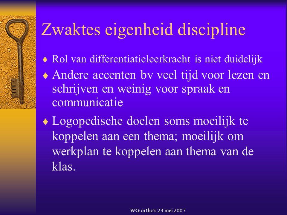 WG ortho's 23 mei 2007 Zwaktes eigenheid discipline  Rol van differentiatieleerkracht is niet duidelijk  Andere accenten bv veel tijd voor lezen en
