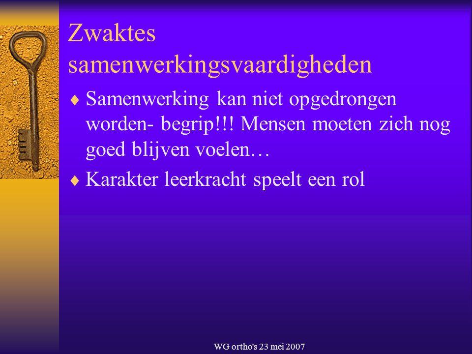 WG ortho's 23 mei 2007 Zwaktes samenwerkingsvaardigheden  Samenwerking kan niet opgedrongen worden- begrip!!! Mensen moeten zich nog goed blijven voe