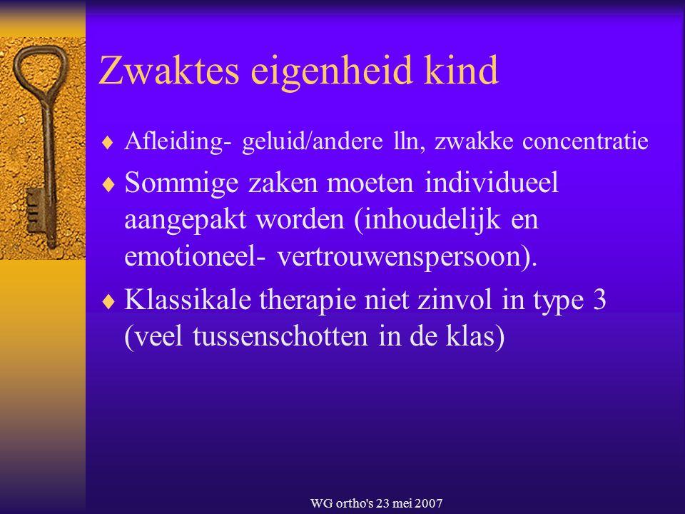 WG ortho's 23 mei 2007 Zwaktes eigenheid kind  Afleiding- geluid/andere lln, zwakke concentratie  Sommige zaken moeten individueel aangepakt worden