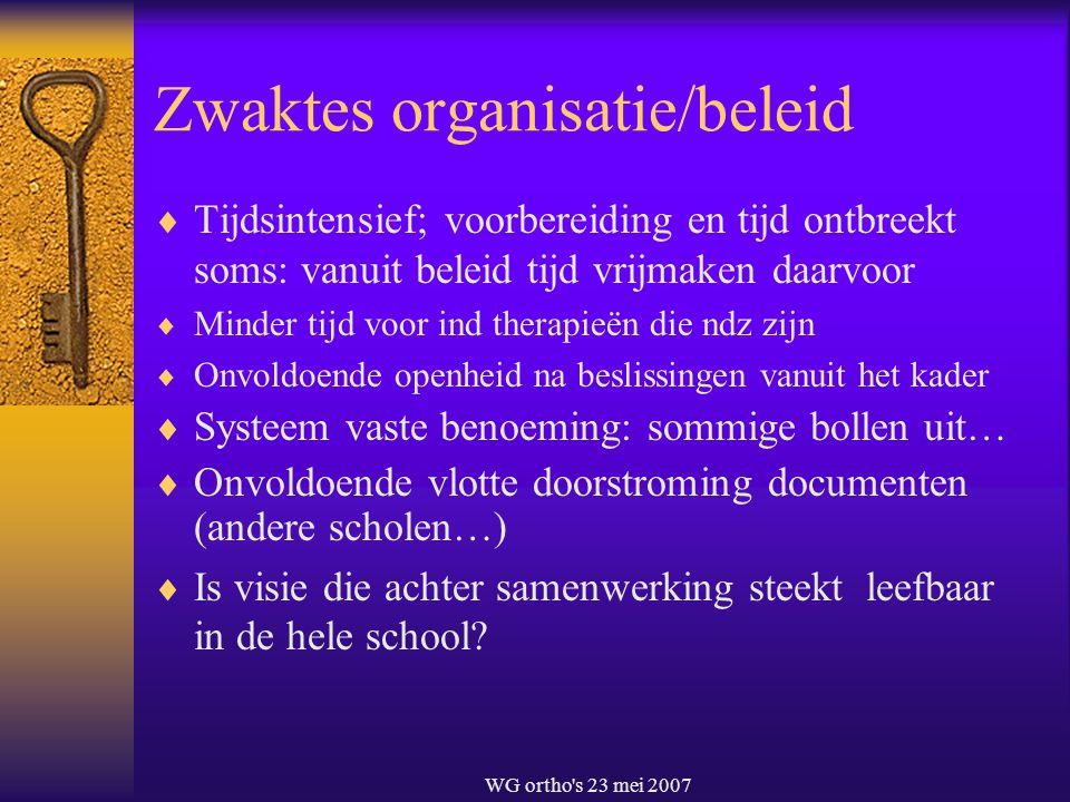 WG ortho's 23 mei 2007 Zwaktes organisatie/beleid  Tijdsintensief; voorbereiding en tijd ontbreekt soms: vanuit beleid tijd vrijmaken daarvoor  Mind