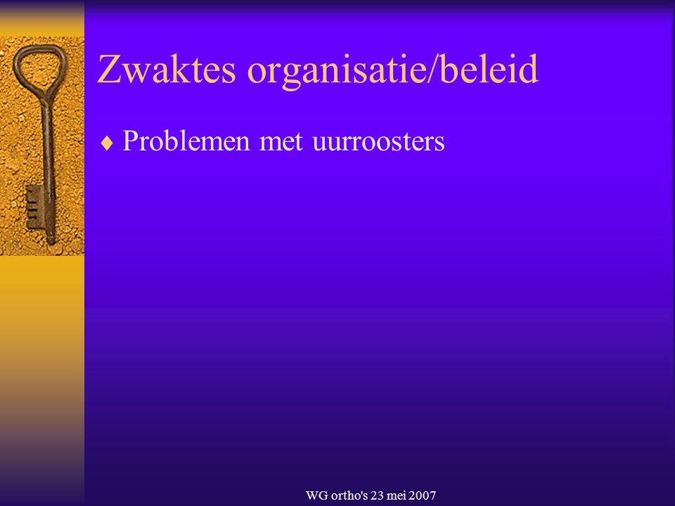 WG ortho's 23 mei 2007 Zwaktes organisatie/beleid  Problemen met uurroosters
