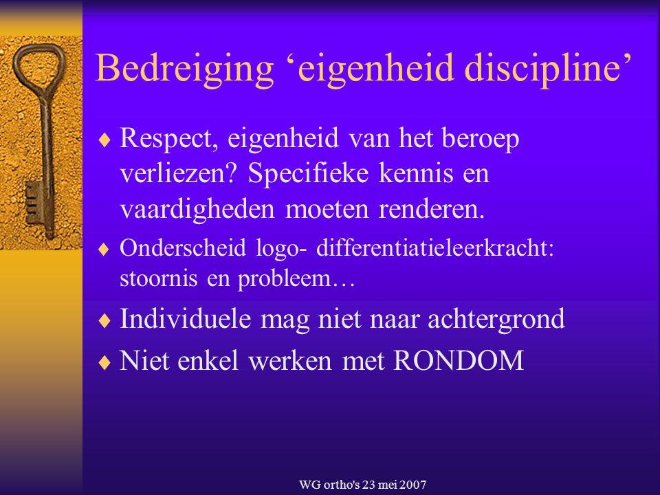 WG ortho's 23 mei 2007 Bedreiging 'eigenheid discipline'  Respect, eigenheid van het beroep verliezen? Specifieke kennis en vaardigheden moeten rende