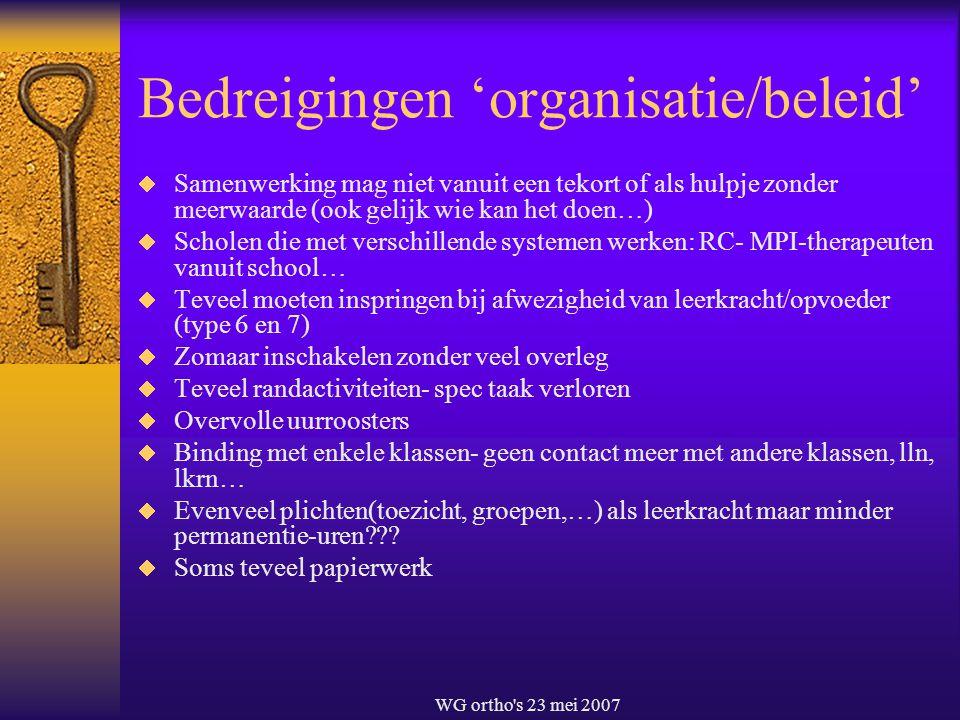 WG ortho's 23 mei 2007 Bedreigingen 'organisatie/beleid'  Samenwerking mag niet vanuit een tekort of als hulpje zonder meerwaarde (ook gelijk wie kan