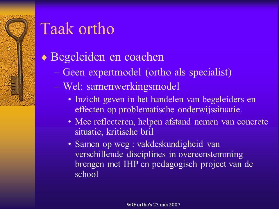 WG ortho's 23 mei 2007 Taak ortho  Begeleiden en coachen –Geen expertmodel (ortho als specialist) –Wel: samenwerkingsmodel Inzicht geven in het hande