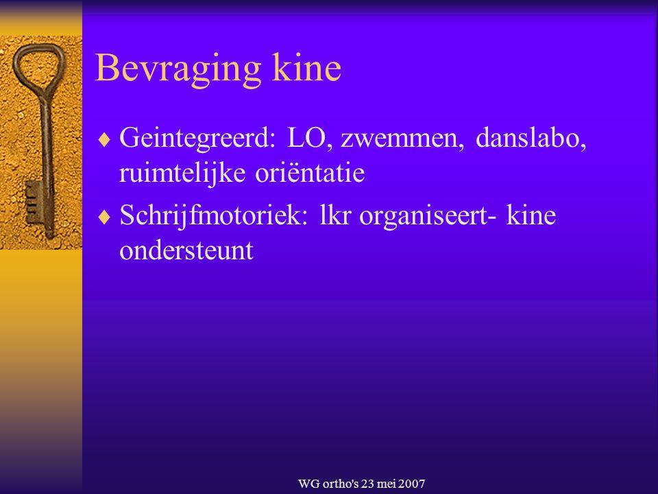WG ortho's 23 mei 2007 Bevraging kine  Geintegreerd: LO, zwemmen, danslabo, ruimtelijke oriëntatie  Schrijfmotoriek: lkr organiseert- kine ondersteu
