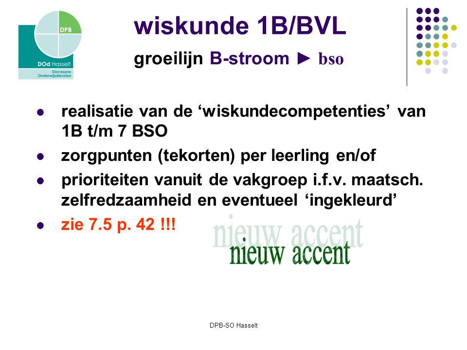 DPB-SO Hasselt wiskunde 1B/BVL groeilijn B-stroom ► bso realisatie van de 'wiskundecompetenties' van 1B t/m 7 BSO zorgpunten (tekorten) per leerling en/of prioriteiten vanuit de vakgroep i.f.v.