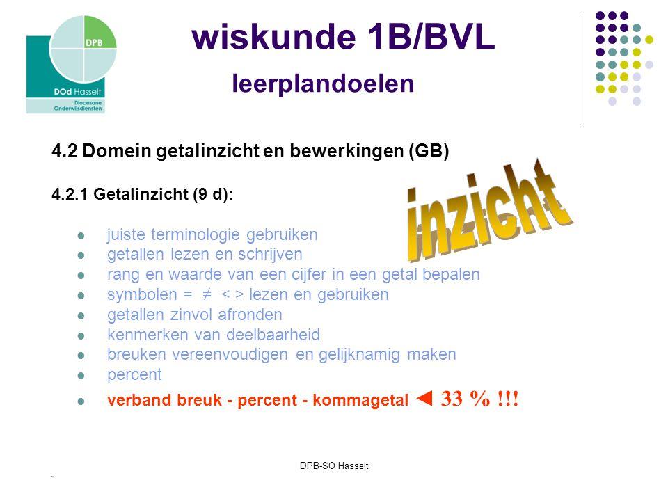 DPB-SO Hasselt wiskunde 1B/BVL leerplandoelen 4.2 Domein getalinzicht en bewerkingen (GB) 4.2.1 Getalinzicht (9 d): juiste terminologie gebruiken getallen lezen en schrijven rang en waarde van een cijfer in een getal bepalen symbolen = ≠ lezen en gebruiken getallen zinvol afronden kenmerken van deelbaarheid breuken vereenvoudigen en gelijknamig maken percent verband breuk - percent - kommagetal ◄ 33 % !!.
