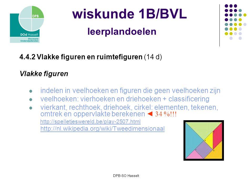 DPB-SO Hasselt wiskunde 1B/BVL leerplandoelen 4.4.2 Vlakke figuren en ruimtefiguren (14 d) Vlakke figuren indelen in veelhoeken en figuren die geen veelhoeken zijn veelhoeken: vierhoeken en driehoeken + classificering vierkant, rechthoek, driehoek, cirkel: elementen, tekenen, omtrek en oppervlakte berekenen ◄ 34 %!!.