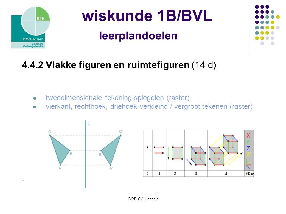 DPB-SO Hasselt wiskunde 1B/BVL leerplandoelen 4.4.2 Vlakke figuren en ruimtefiguren (14 d) tweedimensionale tekening spiegelen (raster) vierkant, rechthoek, driehoek verkleind / vergroot tekenen (raster) …