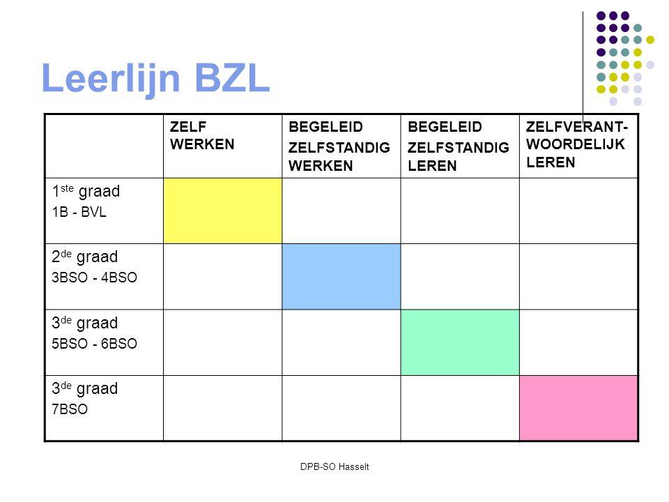 DPB-SO Hasselt Leerlijn BZL ZELF WERKEN BEGELEID ZELFSTANDIG WERKEN BEGELEID ZELFSTANDIG LEREN ZELFVERANT- WOORDELIJK LEREN 1 ste graad 1B - BVL 2 de graad 3BSO - 4BSO 3 de graad 5BSO - 6BSO 3 de graad 7BSO