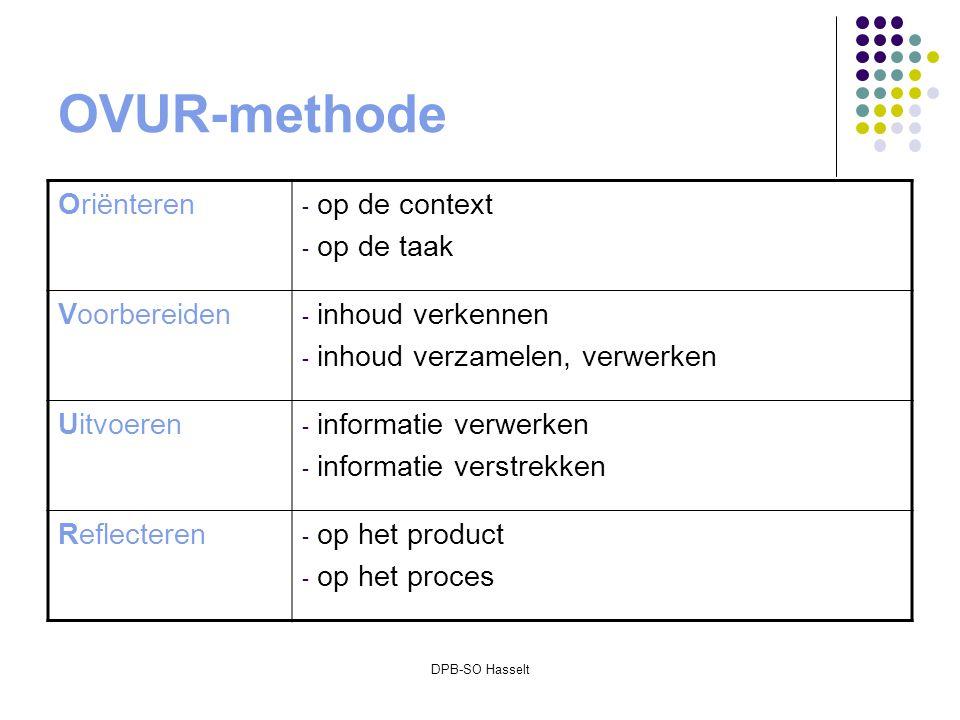 DPB-SO Hasselt OVUR-methode Oriënteren - op de context - op de taak Voorbereiden - inhoud verkennen - inhoud verzamelen, verwerken Uitvoeren - informatie verwerken - informatie verstrekken Reflecteren - op het product - op het proces