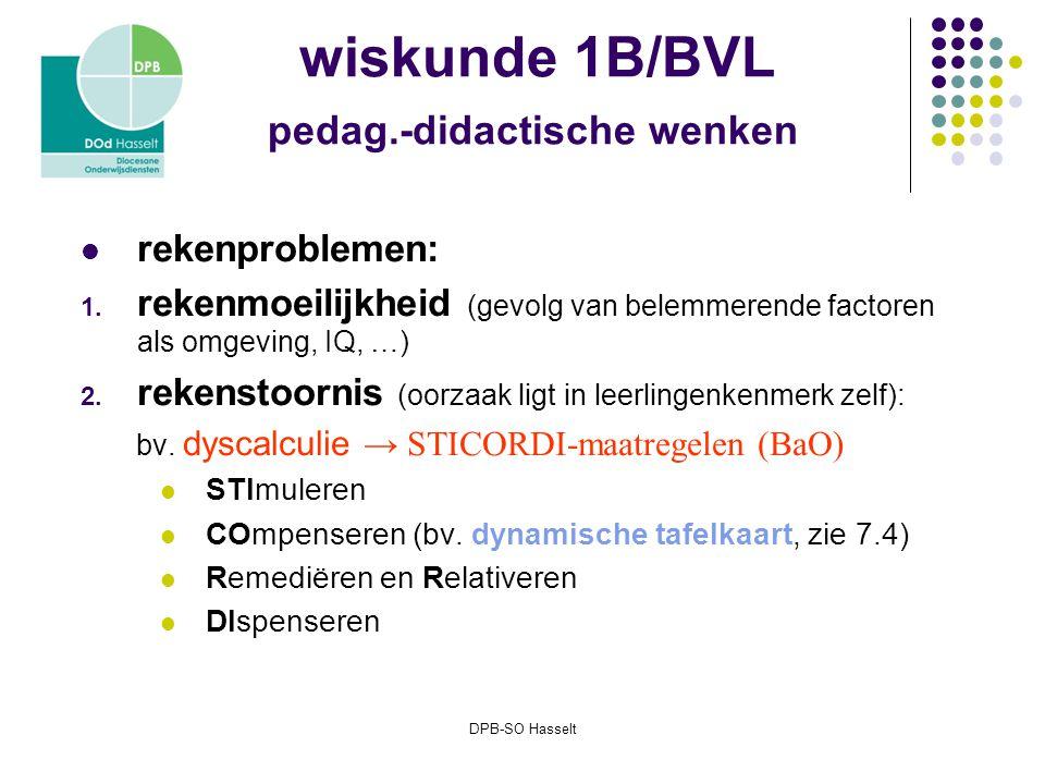 DPB-SO Hasselt wiskunde 1B/BVL pedag.-didactische wenken rekenproblemen: 1.
