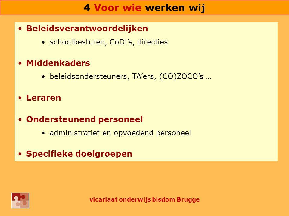 Beleidsverantwoordelijken schoolbesturen, CoDi's, directies Middenkaders beleidsondersteuners, TA'ers, (CO)ZOCO's … Leraren Ondersteunend personeel administratief en opvoedend personeel Specifieke doelgroepen vicariaat onderwijs bisdom Brugge 4 Voor wie werken wij