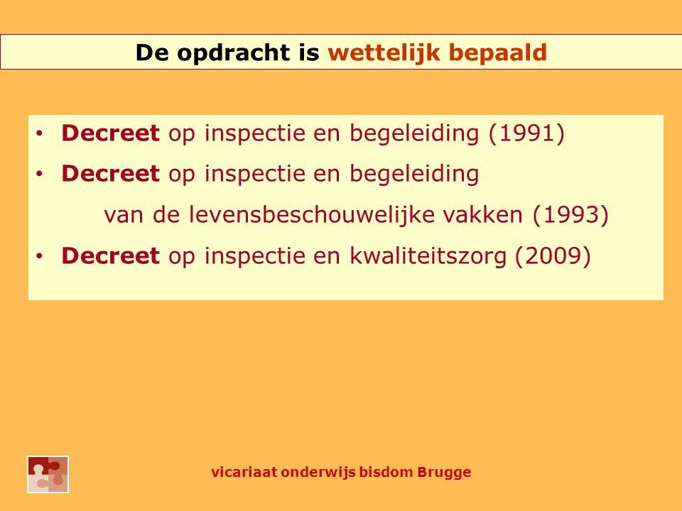 De opdracht is wettelijk bepaald Decreet op inspectie en begeleiding (1991) Decreet op inspectie en begeleiding van de levensbeschouwelijke vakken (1993) Decreet op inspectie en kwaliteitszorg (2009) vicariaat onderwijs bisdom Brugge