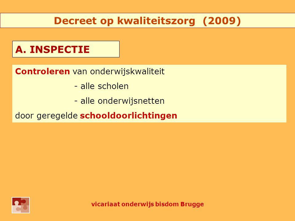 Decreet op kwaliteitszorg (2009) Controleren van onderwijskwaliteit - alle scholen - alle onderwijsnetten door geregelde schooldoorlichtingen A.