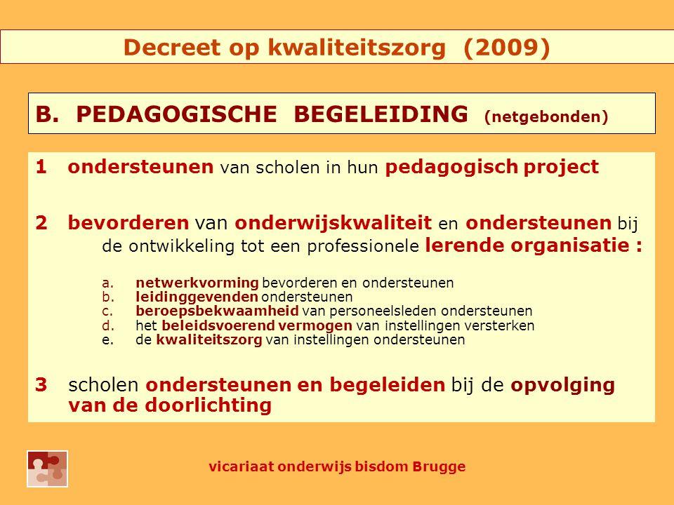 1ondersteunen van scholen in hun pedagogisch project 2bevorderen van onderwijskwaliteit en ondersteunen bij de ontwikkeling tot een professionele lerende organisatie : a.