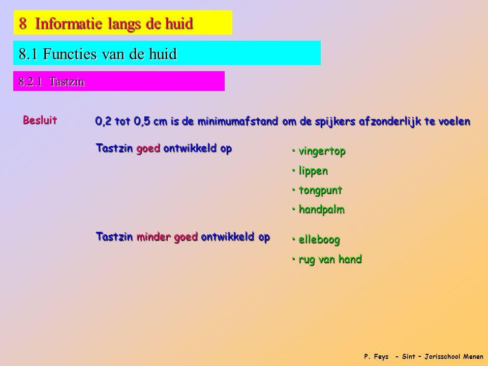P. Feys - Sint – Jorisschool Menen 8 Informatie langs de huid 8.1 Functies van de huid Besluit 0,2 tot 0,5 cm is de minimumafstand om de spijkers afzo