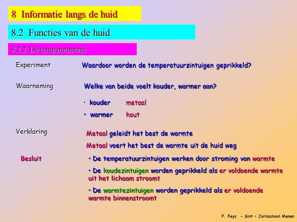 P. Feys - Sint – Jorisschool Menen 8 Informatie langs de huid 8.2 Functies van de huid 8.2.2 De temperatuurzin Experiment Waardoor worden de temperatu