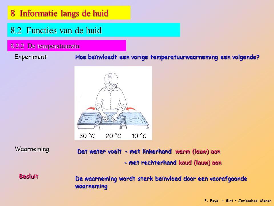 P. Feys - Sint – Jorisschool Menen 8 Informatie langs de huid Experiment Hoe beïnvloedt een vorige temperatuurwaarneming een volgende? Waarneming 8.2