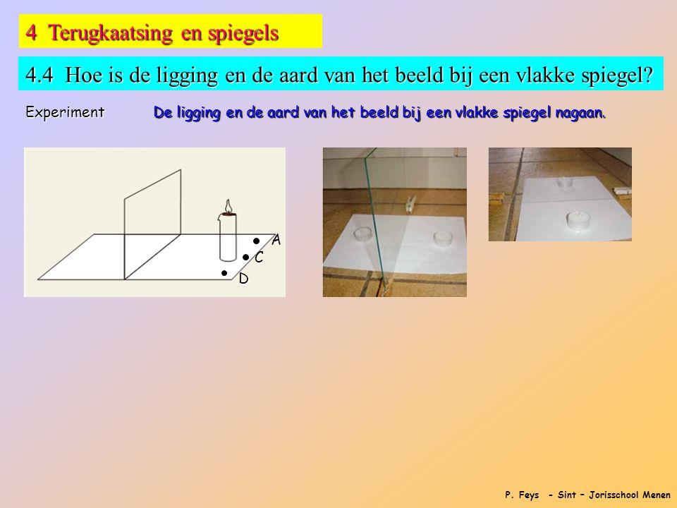 P. Feys - Sint – Jorisschool Menen 4 Terugkaatsing en spiegels 4.4 Hoe is de ligging en de aard van het beeld bij een vlakke spiegel? Experiment De li