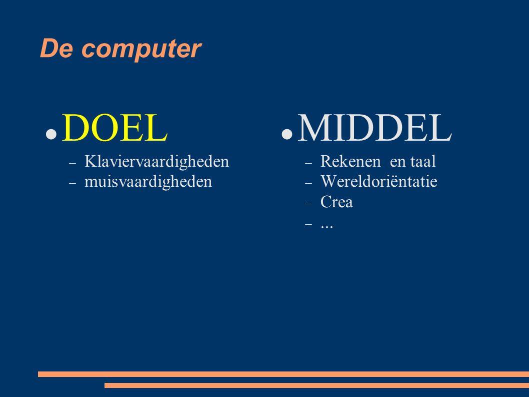 De computer DOEL  Klaviervaardigheden  muisvaardigheden MIDDEL  Rekenen en taal  Wereldoriëntatie  Crea ...