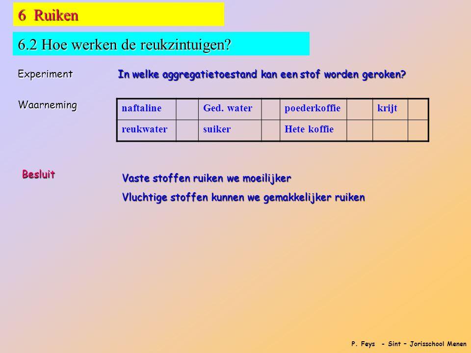 P. Feys - Sint – Jorisschool Menen 6 Ruiken 6.2 Hoe werken de reukzintuigen? Experiment In welke aggregatietoestand kan een stof worden geroken? Waarn