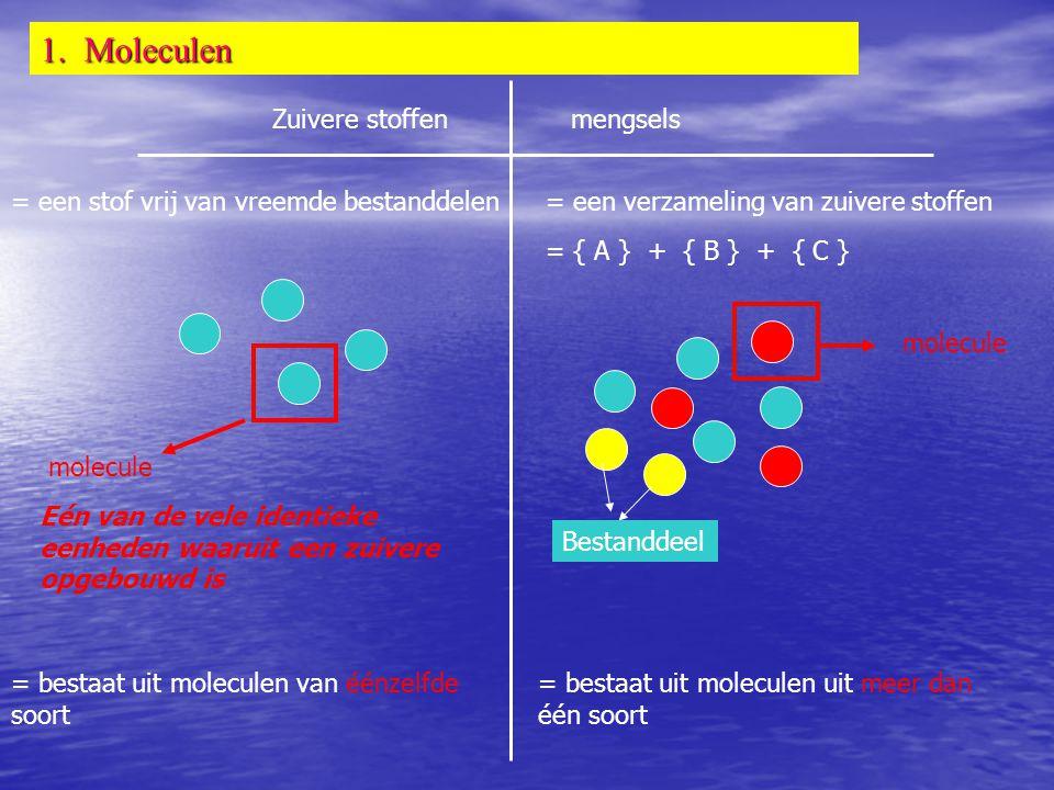 1. Moleculen Zuivere stoffenmengsels = een stof vrij van vreemde bestanddelen= een verzameling van zuivere stoffen = { A } + { B } + { C } Bestanddeel