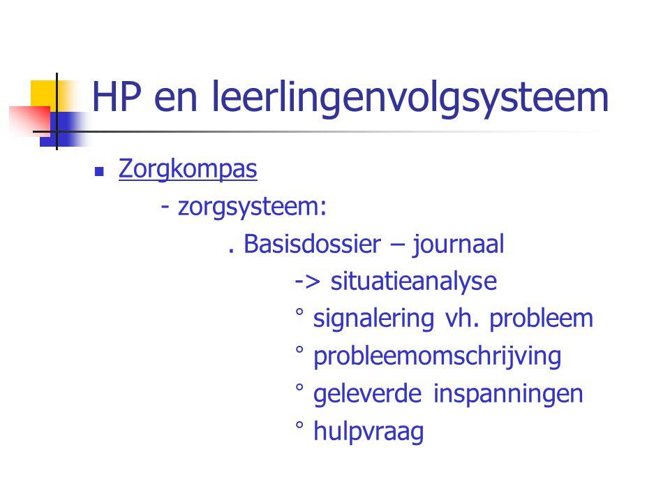 HP en leerlingenvolgsysteem Zorgkompas - zorgsysteem:. Basisdossier – journaal -> situatieanalyse ° signalering vh. probleem ° probleemomschrijving °