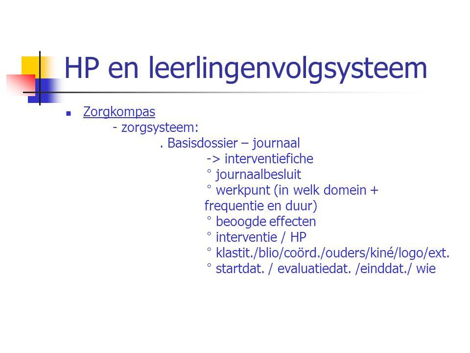 HP en leerlingenvolgsysteem Zorgkompas - zorgsysteem:. Basisdossier – journaal -> interventiefiche ° journaalbesluit ° werkpunt (in welk domein + freq