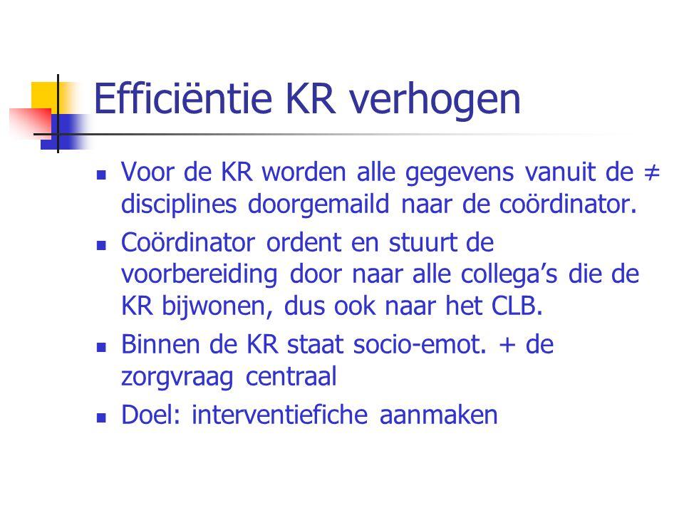 Efficiëntie KR verhogen Voor de KR worden alle gegevens vanuit de ≠ disciplines doorgemaild naar de coördinator. Coördinator ordent en stuurt de voorb