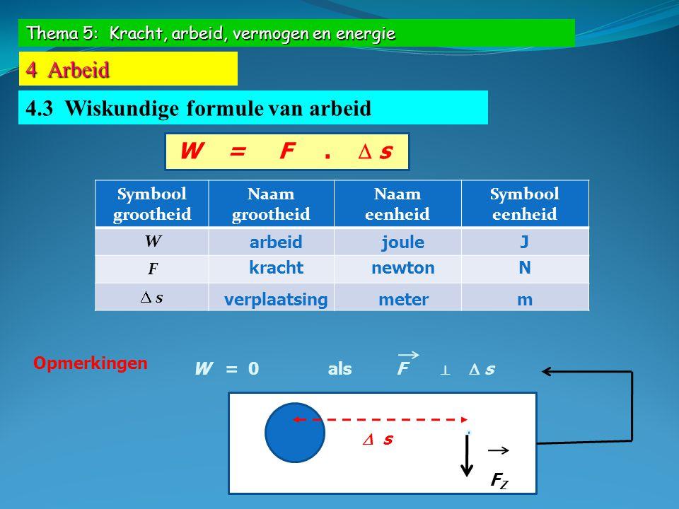Thema 5: Kracht, arbeid, vermogen en energie 4 Arbeid 4.3 Wiskundige formule van arbeid W = F.  s Symbool grootheid Naam grootheid Naam eenheid Symbo