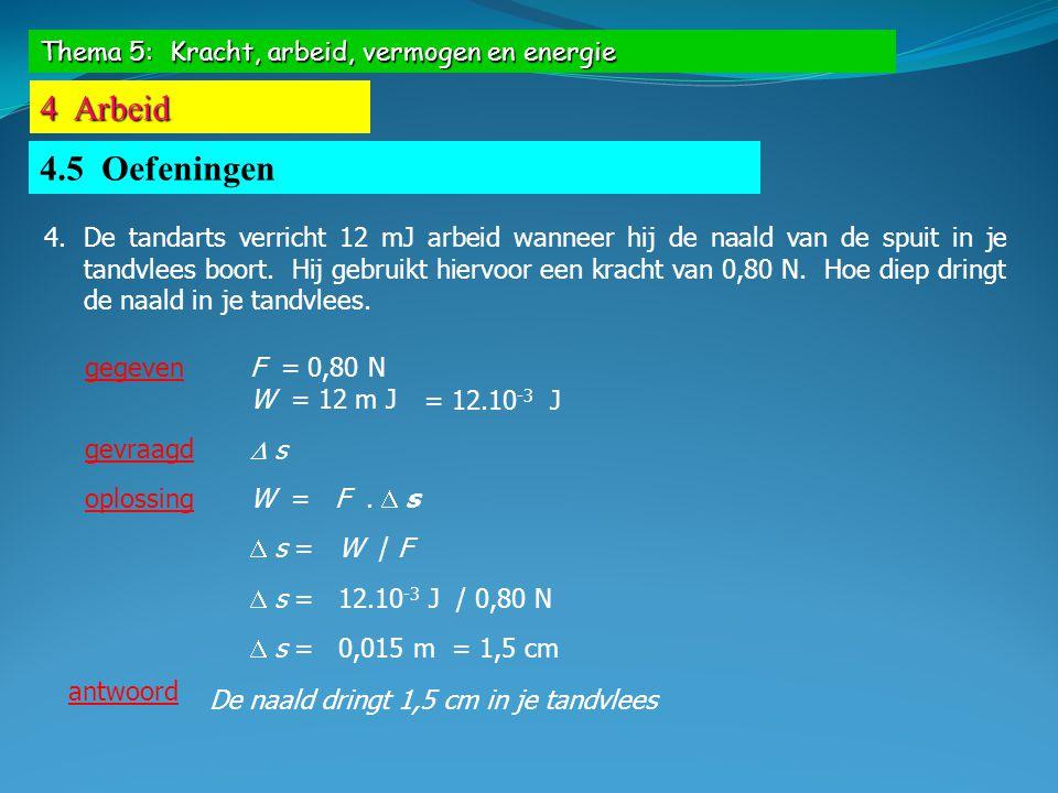 Thema 5: Kracht, arbeid, vermogen en energie 4 Arbeid 4.5 Oefeningen 5.Een ophaalkraan verricht een arbeid van 3,6.