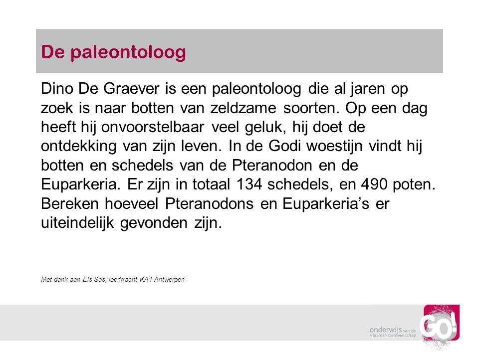 De paleontoloog Dino De Graever is een paleontoloog die al jaren op zoek is naar botten van zeldzame soorten. Op een dag heeft hij onvoorstelbaar veel