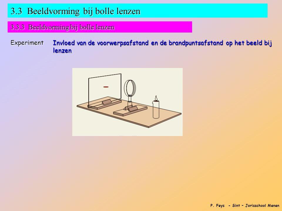 P. Feys - Sint – Jorisschool Menen 3.3 Beeldvorming bij bolle lenzen 3.3.3 Beeldvorming bij bolle lenzen Experiment Invloed van de voorwerpsafstand en