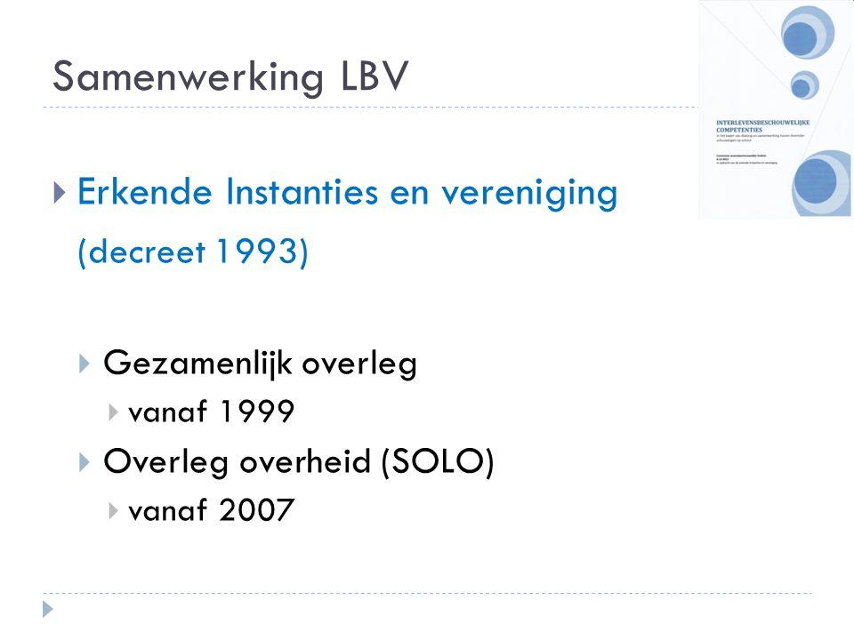 Samenwerking LBV  Erkende Instanties en vereniging (decreet 1993)  Gezamenlijk overleg  vanaf 1999  Overleg overheid (SOLO)  vanaf 2007