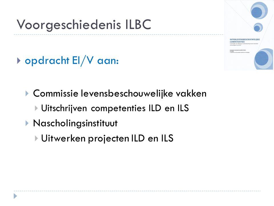 Voorgeschiedenis ILBC  opdracht EI/V aan:  Commissie levensbeschouwelijke vakken  Uitschrijven competenties ILD en ILS  Nascholingsinstituut  Uit