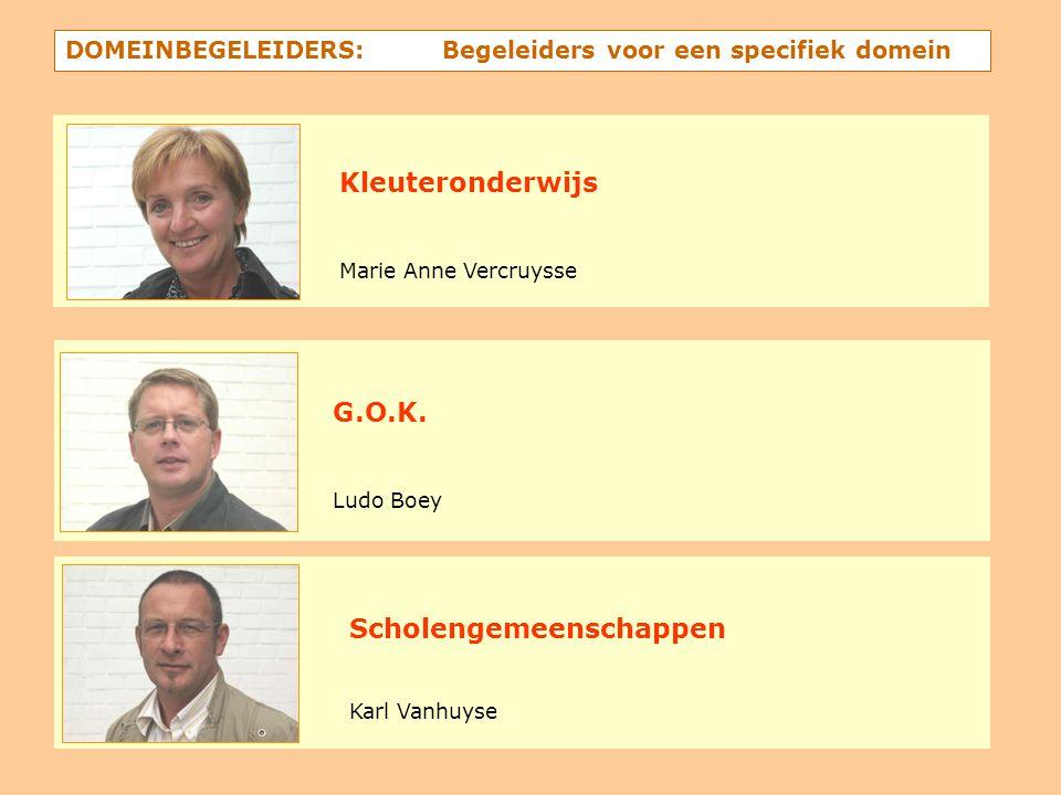 DOMEINBEGELEIDERS: Begeleiders voor een specifiek domein Kleuteronderwijs Marie Anne Vercruysse G.O.K. Ludo Boey Scholengemeenschappen Karl Vanhuyse
